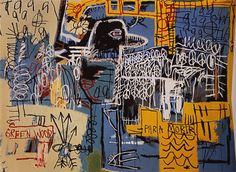 """Bird on Money""  Jean-Michel Basquiat  1981  Style: Neo-Expressionism  acrylic and crayon, on canvas  Dimensions: 167.5 x 228.5 cm  Gallery: Private Collection"