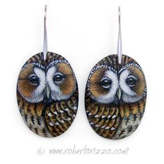 Wonderful Unique Hand Painted Tawny Owl Earrings! Painted with acrylics, nickel free, signed on the back and protect with a satin final varnish.  You will look wonderful with these unique hand painted Owl Earrings! They are perfect for any age and style, can be easily matched with all types of Art Party Favors, Owl Earrings, Drop Earrings, Painted Rocks, Hand Painted, Tawny Owl, Bijoux Uniques, Etsy, Pink Flamingos