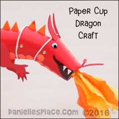 """Dragon Paper Cup Puppet Craft with """"View it and Do it"""" Video from www.daniellesplace.com ©2016"""