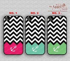 Chevron and Anchor iPhone 4 Case, iPhone 4s Case, iPhone 4 Hard Plastic Case,Personalized iPhone Case--water proof