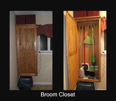 Broom Closet for My Laundry Room Broom Closet Organizer, Closet Storage, Closet Organization, School Tool, Old School, Wood Cabinets, Storage Cabinets, Rustic Kitchen Tables, Cleaning Supply Storage