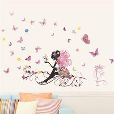 LIKETECH Fleurs et fée rose, arbre et papillons, sticker pour chambre de fille, enfant ou bébé.,  Fleurs et fée rose, arbre et papillons, stickers pour chambre de fille, enfant ou bébé.Pose mural selon votre goutDesign