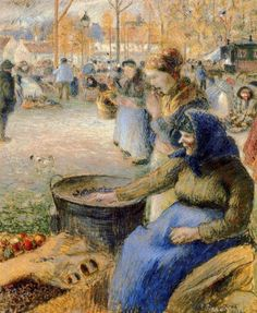 Jacob Camille Pissarro (1830-1903) La Marchande de Marrons,Foire de la San Martino,Pontoise 1881