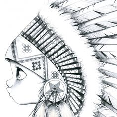 Tableau My little big one-bw Amazing Drawings, Cute Drawings, Cute Pictures To Draw, Flash Art, Copics, Native American Art, Colouring Pages, Cute Illustration, Art Sketchbook