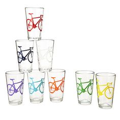 Look what I found at UncommonGoods: Bicycle Tumblers - Set of 8 for $75 #uncommongoods