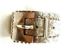 Antique EDWARDIAN Silver BUCKLE Cuff Bracelet 1905
