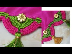 Saree Kuchu-Tassel //ಸೀರೆ ಕುಚ್ಚು / simple Saree kuchu design tutorials for beginners Saree Kuchu New Designs, Saree Tassels Designs, Blouse Designs, Hand Work Blouse Design, Simple Sarees, Chrochet, Diy Flowers, Design Tutorials, Embroidery Designs