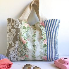 Large beach bag | blue stripe | floral linen | multipurpose bag | carry all | diaper bag | overnight bag | shoulder bag | large tote | beach tote | unique gift | gift for her