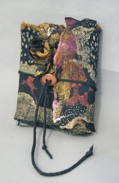 Nuno Felted Journal Cover with Nuno Flowers by sugarplumoriginals closed