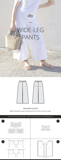 FREE sewing pattern. DIY wide-leg pants. Download the pattern and watch the tutorial at clothstory.com