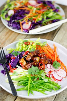 Sticky Pork with Asian Salad