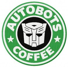 Autobots coffee machine embroidery design