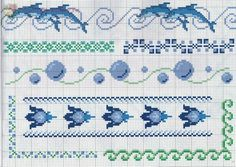 borders Cross stitch theme with dolphins and sea water bubbles - free cross stitch patterns crochet knitting amigurumi Cross Stitch Boarders, Cross Stitch Sea, Cross Stitch Charts, Cross Stitch Designs, Cross Stitching, Cross Stitch Embroidery, Embroidery Patterns, Cross Stitch Patterns, Crochet Patterns