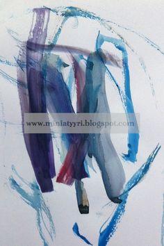 Kolmevuotiaan lapsen akvarellimaalaus - Watercolour painting by a three-year-old child