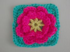 Flower granny ~ Flower can be made separate ~ free pattern