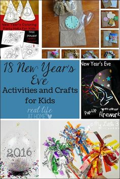Looking for some fun New Year's Eve activities that are kid-friendly? Come check out 18 ideas for New Year's activities, crafts, printables, and more! Kids New Years Eve, New Years Eve Games, New Years Eve Party, Spring Crafts For Kids, Crafts For Kids To Make, Art For Kids, New Year's Eve Crafts, Fun Crafts, New Year's Eve Activities