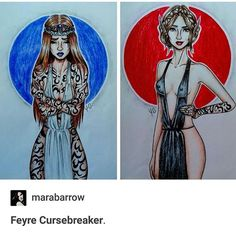[credit to artist] Human Feyre & Fae Feyre  Whoever the artist is, they did a great job capturing the change in her demeanor.