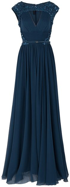 Elie Saab Chiffon Beaded Cap Sleeve Gown
