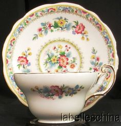 Foley English Tea Cup and Saucer Ming Rose Gold Gilt Bone China Teacup Duo , Labelle's China Discontinued Dinnerware Specialists