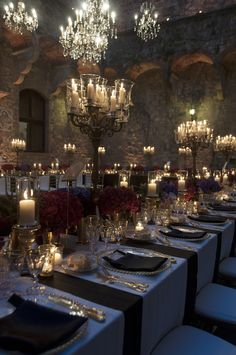Twilight in the Tuscan Hills at Castello di Vincigliata. Crystal chandeliers…