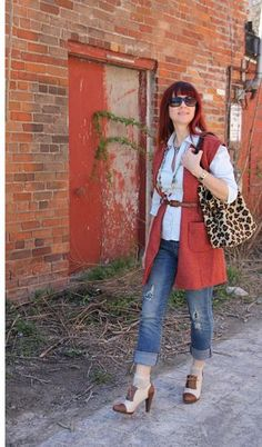 How to wear jeans with a dress.  Over 40 fashion for the stylish woman.
