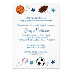 Sports Balls MVP All Star Baby Shower Invitation