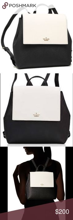"""Kate Spade ♠️ Love the black and white, especially what Kate Spade calls """"cement"""" because it's not a """"loud"""" white. This is her small Neema backpack very cute with lots of space. In great condition kate spade Bags Backpacks"""