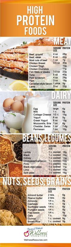 Guide to high protein foods.
