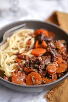 Beef cheek with carrots - Meat recipe - Delicacies - - Copycat Recipes, Meat Recipes, Beef Cheeks, French Food, Rind, Wok, Family Meals, Food Inspiration, Slow Cooker