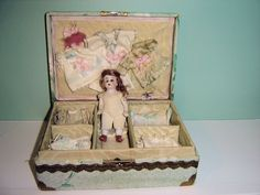 Darling Presentation Box with All Bisque Doll & Many Outfits from thedolltrunk on Ruby Lane