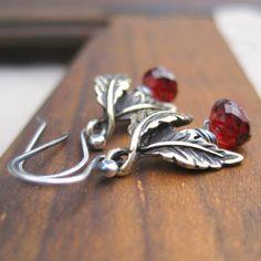 Garnet Earrings Sterling Silver Antique Bronze Leaves by loriyab, $35.00