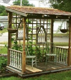 The wooden pergola is a good solution to add beauty to your garden. If you are not ready to spend thousands of dollars for building a cozy pergola then you may devise new strategies of trying out something different so that you can re Porch Garden, Garden Arbor, Diy Porch, Garden Paths, Arbor Bench, Verge, Front Gardens, Diy Greenhouse, Underground Greenhouse