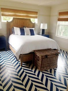 A DIY stenciled and painted bedroom floor using the Herringbone Allover pattern. http://www.cuttingedgestencils.com/herringbone-stencil-pattern.html