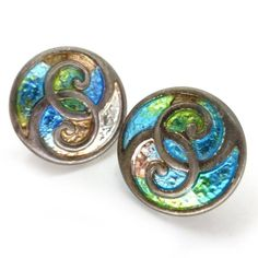 Antique Charles Horner Silver Peacock Enamel Buttons