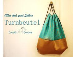 Upcycling, Recycling Stoff, Upcycling Jeans, Turnbeutel selber nähen, Caballo Couture, Turnbeutel aus Kunstleder, Turnbeutel nähen