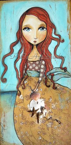 on Sale... buy two get one free-By the seashore-Original mixed media art print...