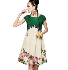 LIEBO spring summer new empire waist short sleeve elegant embroidery cotton dress patchwork free shipping $92.00