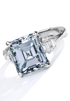 Important Diamond Ring. Set with an emerald-cut Fancy Gray-Blue diamond weighing carats, the mounting accented by baguette, triangle and single-cut diamonds, set in platinum; Grey Diamond Ring, Gold Solitaire Ring, Blue Diamond Jewelry, Oval Diamond, Vintage Diamond, Antique Engagement Rings, Diamond Engagement Rings, Art Nouveau, Art Deco Diamond