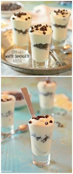 White Chocolate Mousse is so rich & creamy! There's nothing better than a SUPER Easy White Chocolate Mousse recipe with only 2 ingredients. Mini Desserts, Easy Desserts, Delicious Desserts, Dessert Recipes, Yummy Food, White Chocolate Mousse, Chocolate Mousse Recipe, Chocolate Chips, White Chocolate Desserts