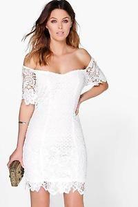 Boohoo Womens Boutique Daisy Floral Crochet Off Shoulder Dress