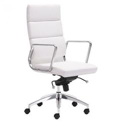 Zuo Modern Faux Leather Swivel Office Chair In White - Add stylish flair to your home office or study space with the Faux Leather Upholstered Office Chair by Zuo Modern in white. Swivel around in comfort with this out of the ordinary style chair. High Back Office Chair, Office Chair Without Wheels, Swivel Office Chair, Office Chairs, Desk Chairs, Bar Chairs, Dining Chairs, Furniture Chairs, Lounge Chairs