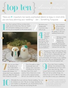 """Written, curated, and designed by bridal blogger Jen Carreiro (www.SomethingTurquoise.com). Here is a """"Top 10"""" list of important, but easily overlooked details to keep in mind while planning your wedding."""