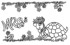 mrs. turtle embroidery transfer