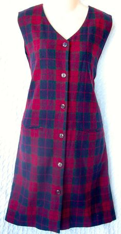 90's CHIC! Womens VINTAGE Jumper PLAID Size 8 Mini RED Green WOOL Blend DRESS   #SagHarbor
