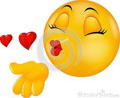 Emoticon de beijo redondo da cara dos desenhos animados que faz o beijo do ar