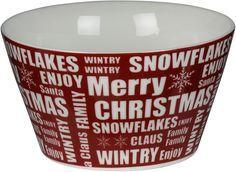 Julskål Christmas i porslin. Adventsporslin / julporslin i rött med vit text Merry Christmas. (artnr 3108934)