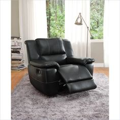 Lowest price online on all Trent Home Cantrell Leather Glider Reclining Chair - 9778BLK-1
