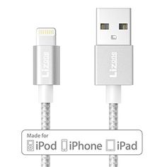 Introducing Lizone 33ft USB Cable with Lightning Connector Apple MFi Certified for iPhone 6s 6s Plus 6 6 Plus 5s 5c 5 iPad Pro Mini Air iPad5 iPod and More Nylon BraidedSilver. Great product and follow us for more updates!
