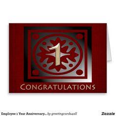 Employee 1 Year Anniversary Elegant Golden Red Greeting Card