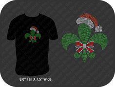 Fleur de lis rhinestone bling Christmas shirt by BeyondtheBlingUSA
